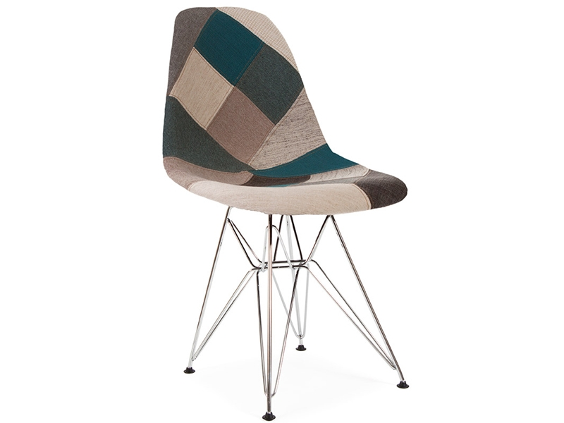 Chaise dsr rembourr e patchwork bleu for Chaise scandinave patchwork bleu