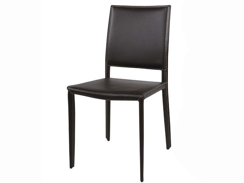 Chaise en cuir amy marron - Chaise en cuir marron ...