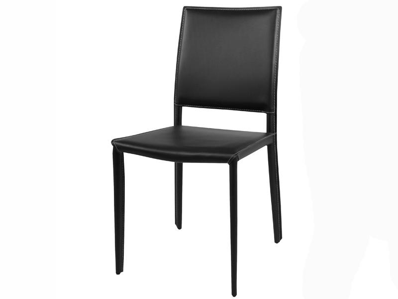 Chaise en cuir amy noir - Chaises en cuir noir ...