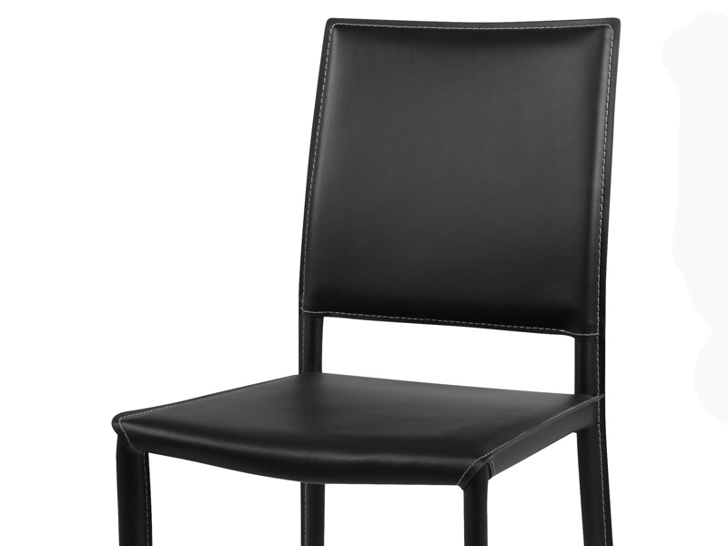 Chaise en cuir amy noir for Chaise cuir noir