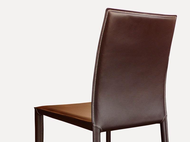Chaise en cuir costa marron for Chaises design en soldes
