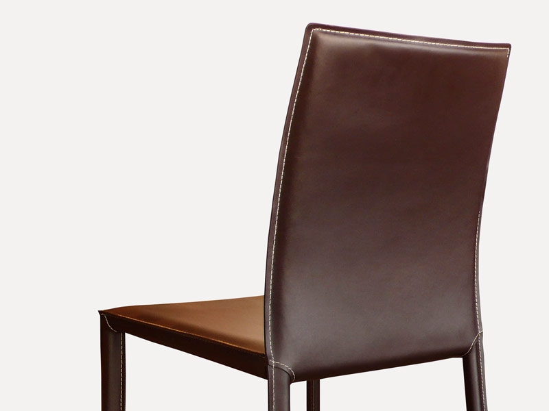 Chaise en cuir costa marron for Chaise cuir marron
