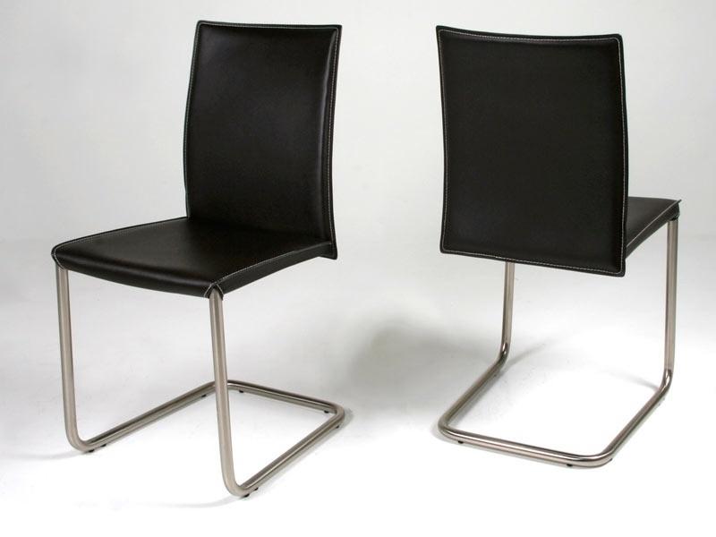 Chaise en cuir costa swing noir - Chaise cuir noir design ...