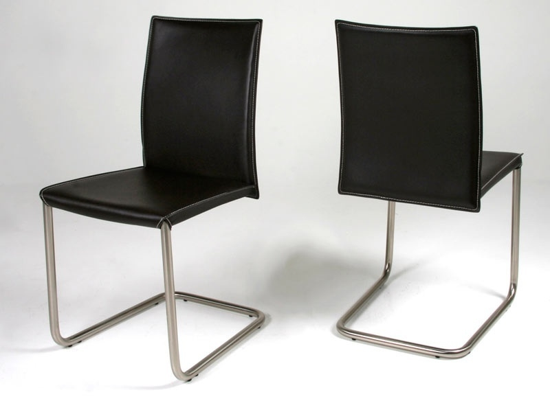 Chaise en cuir costa swing noir - Chaises en cuir noir ...