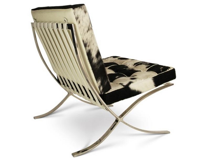 Chaise et ottoman barcelona noir blanc - Chaise noir et blanc design ...
