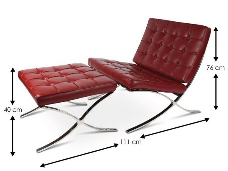 Image de l'article Chaise et ottoman Barcelona - Rouge