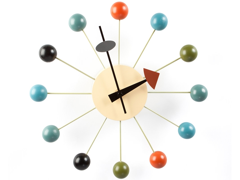 Horloge murale ball george nelson for Grande pendule murale design