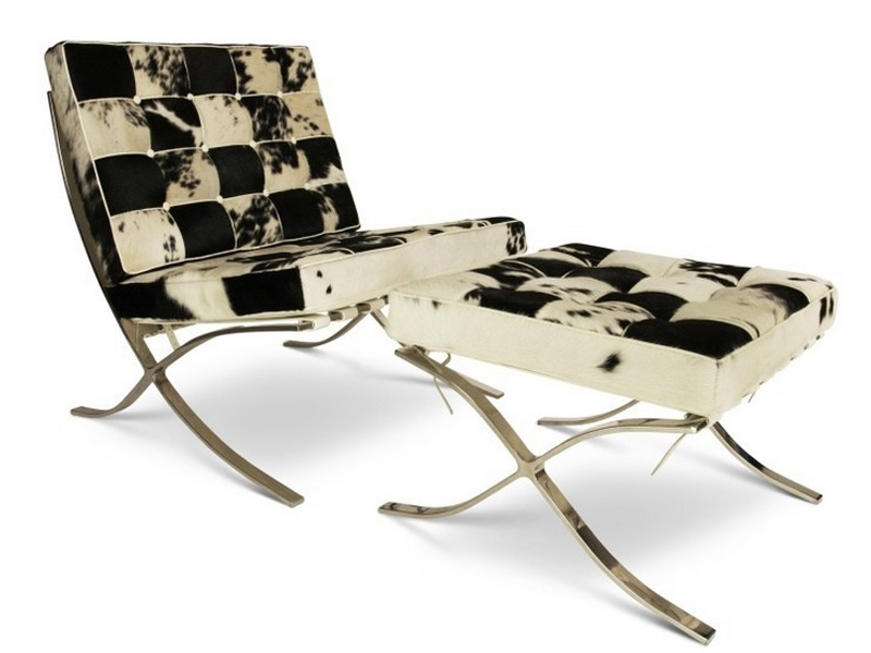 Image of the design chair Barcelona chair and ottoman - Black & white