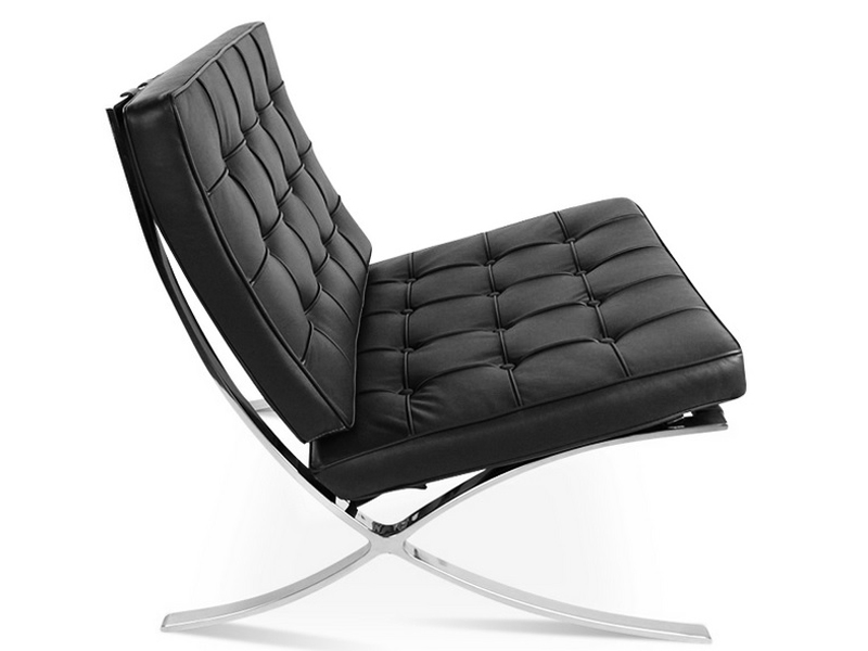 Image of the design chair Barcelona chair and ottoman - Black