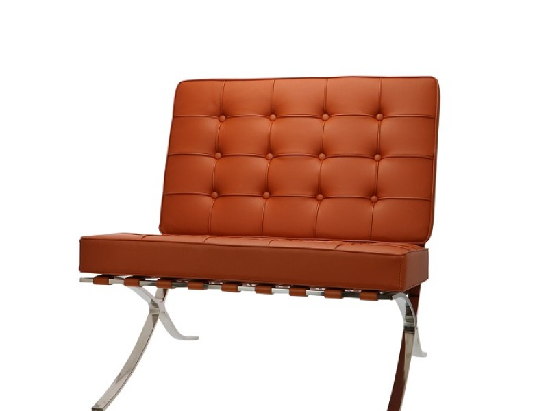 Image of the design chair Barcelona chair and ottoman - Cognac