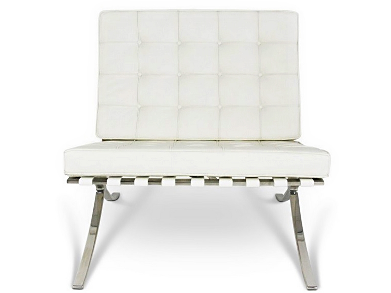 Image of the design chair Barcelona chair and ottoman - Cream White