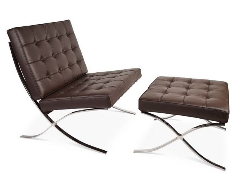 Image of the design chair Barcelona chair and ottoman - Dark brown