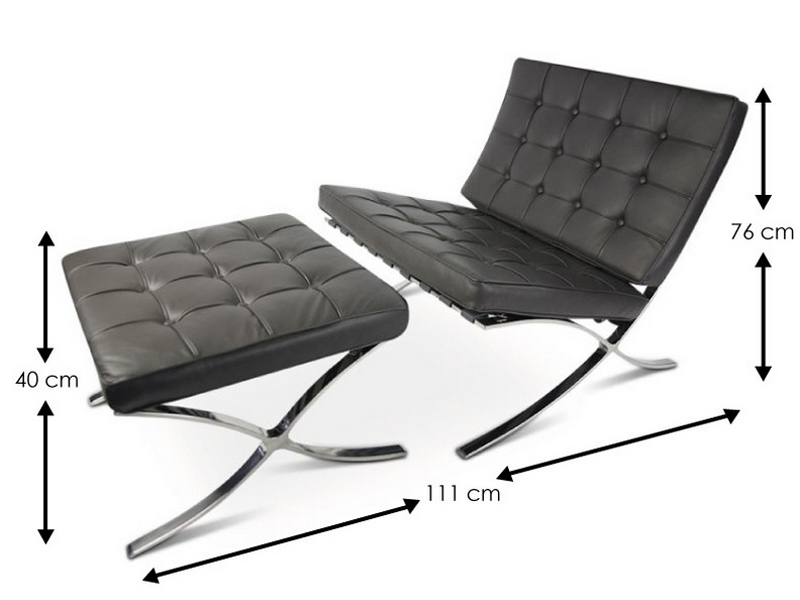 Image of the design chair Barcelona chair and ottoman - Dark grey