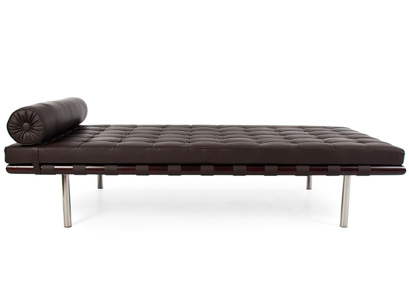 Image of the design chair Barcelona day-bed 195 cm - Dark brown