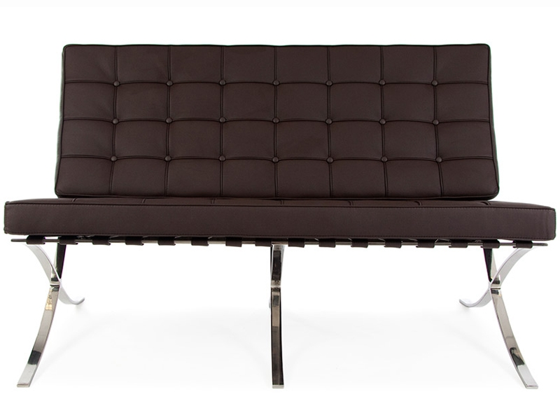 Image of the design chair Barcelona sofa 2 seater - Dark brown