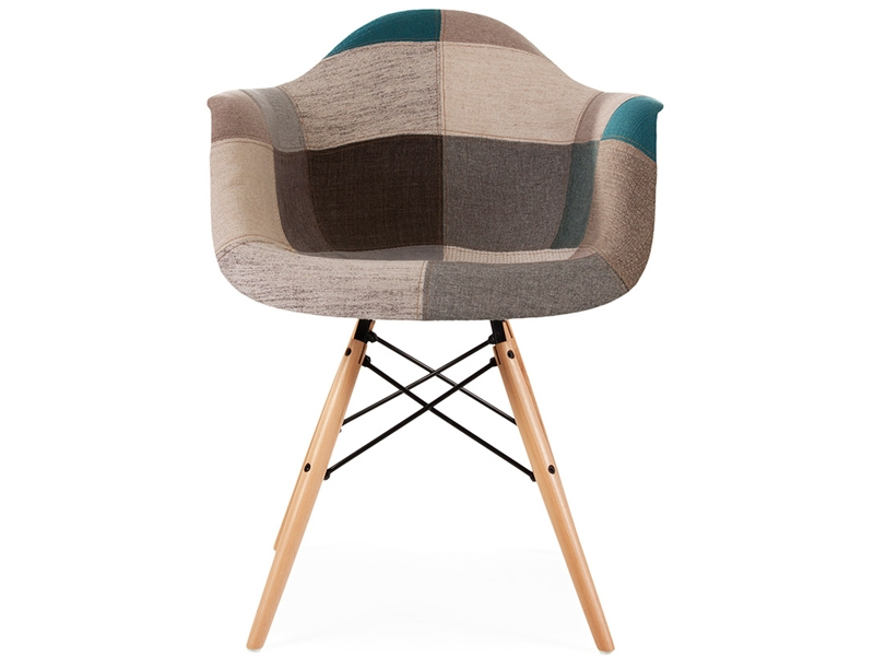 Image of the design chair DAW chair padded - Blue patchwork