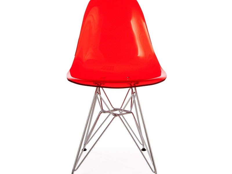 Image of the design chair DSR Eames chair - Clear red