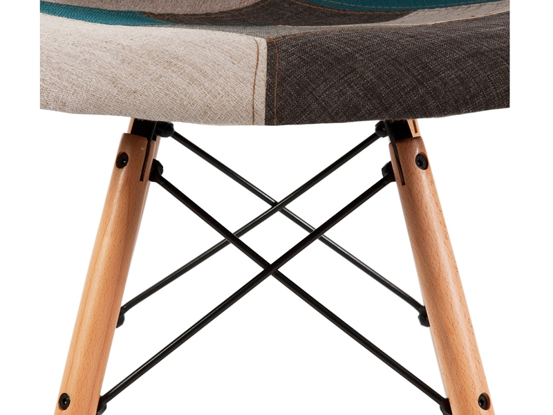 Image of the design chair DSW chair padded - Blue patchwork