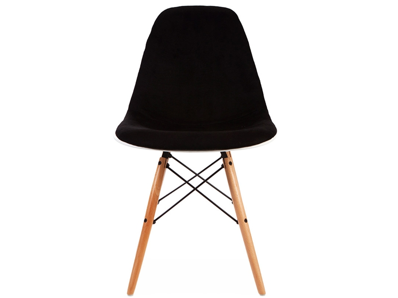 Image of the design chair DSW chair wool padded - Black
