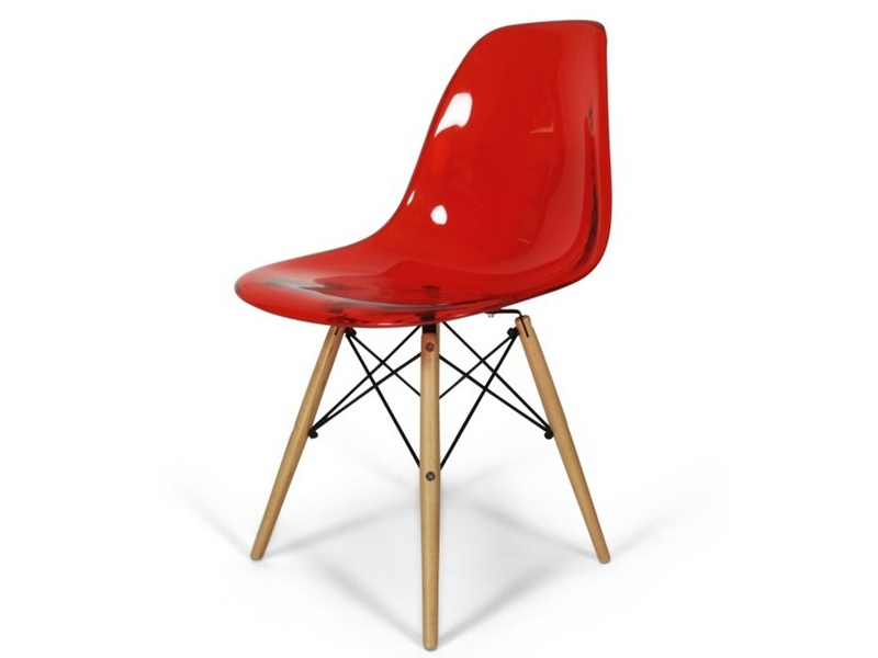 Dsw chair clear red for Chaise eames rouge