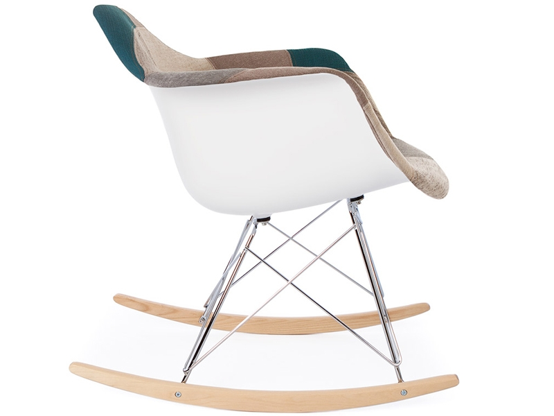 Image of the design chair Eames rocking chair RAR - Blue patchwork