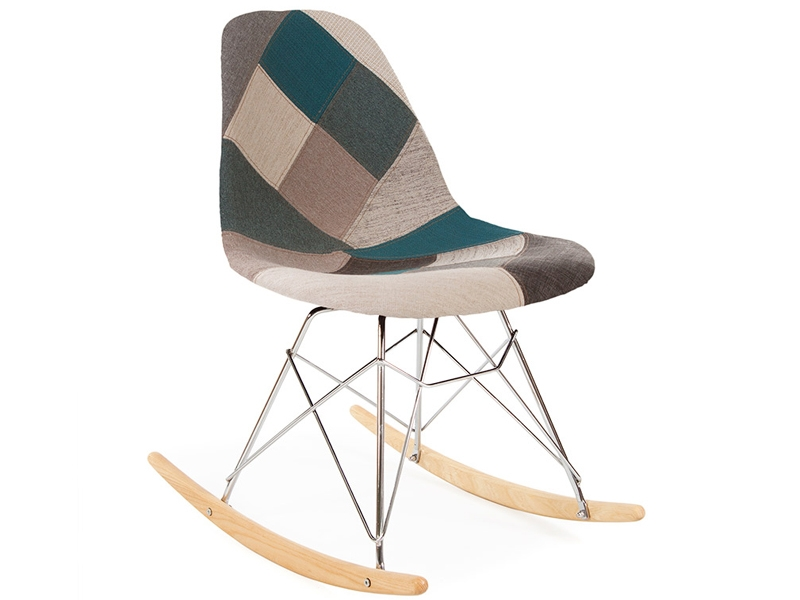 Image of the design chair Eames rocking chair RSR - Blue patchwork