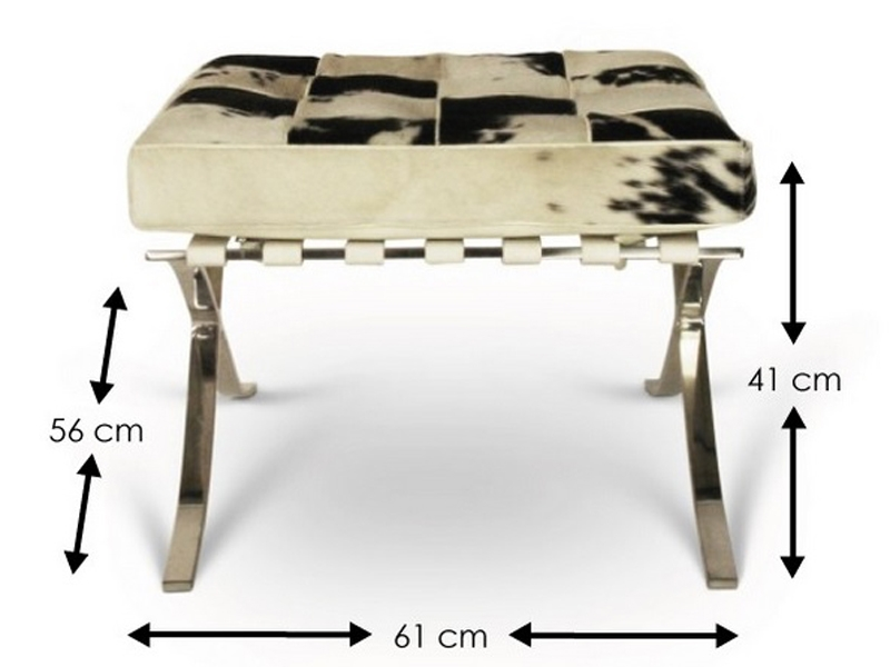 Image of the design chair Ottoman Barcelona Pony - Black & white
