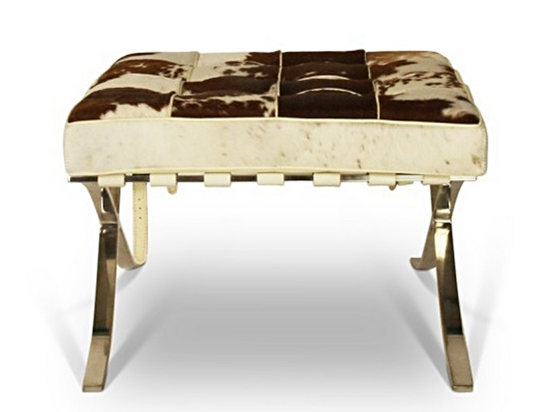 Image of the design chair Ottoman Barcelona Pony - Brown & white
