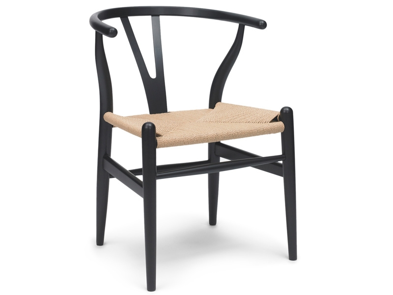 Image of the design chair Wegner Chair Wishbone CH 24 - Black
