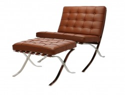 Image of the design chair Barcelona chair and ottoman - Premium Cognac