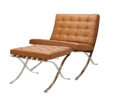 Image of the design chair Barcelona chair and ottoman - Premium vintage Cognac