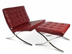 Image of the design chair Barcelona chair and ottoman - Red