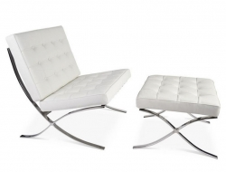 Image of the design chair Barcelona chair and ottoman - White