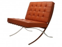 Image of the design chair Barcelona chair - Cognac