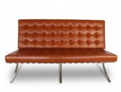 Image of the design chair Barcelona sofa 2 seater - Cognac
