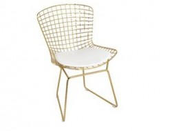Image of the design chair Bertoia Wire Side Chair - Gold