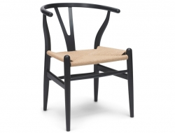 Image of the design chair Wegner Chair Wishbone CH 24 - Black