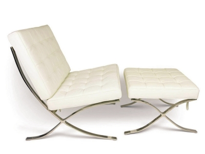 Image of the design chair Barcelona chair and ottoman - Cream