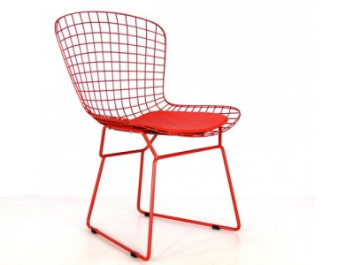 Image of the design chair Bertoia Wire Side Chair - Red