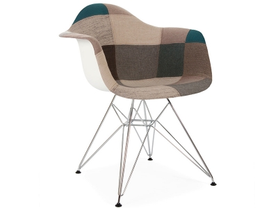 Image of the design chair DAR chair padded - Blue patchwork