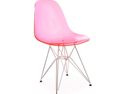 Image of the design chair DSR chair - Clear pink