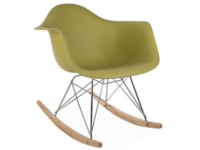 Image of the design chair Eames Rocking Chair  RAR - Green mustard