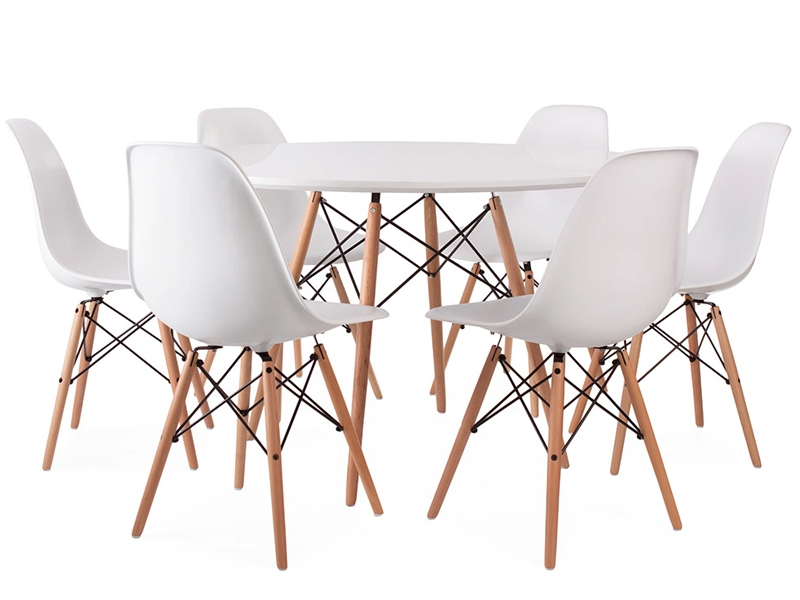 Image of the design furniture Eames table WDW and 6 chairs
