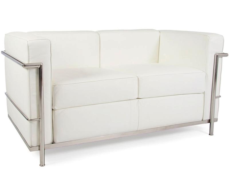 lc2 le corbusier 2 seater white. Black Bedroom Furniture Sets. Home Design Ideas