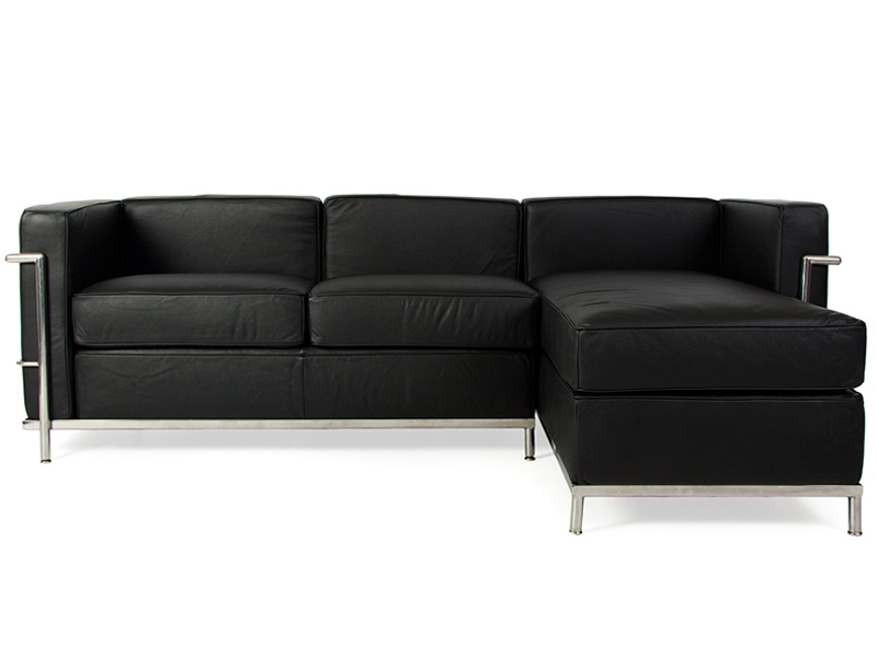 Lc2 le corbusier corner sofa black for Le corbusier sofa nachbau
