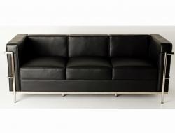 Image of the design furniture LC2 Le Corbusier 3 Seater - Black