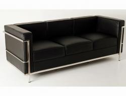 Image of the design furniture LC2 Le Corbusier 3-Seater - Black