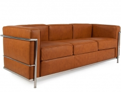 Image of the design furniture LC2 Le Corbusier 3 seater - Tan