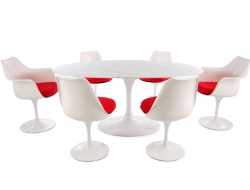 Image of the design furniture Oval table Saarinen and 6 chairs