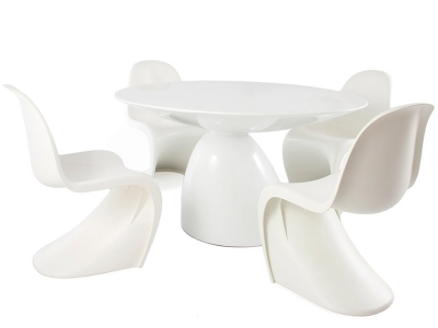 Image of the design furniture Dining table Parabol and 4 chairs